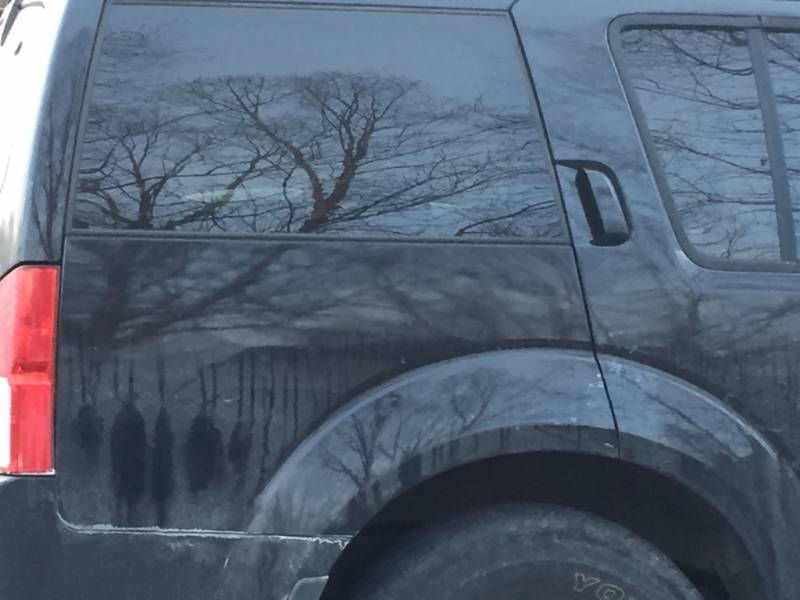 """""""Strange dirt formation on my car looks like people hanging"""""""